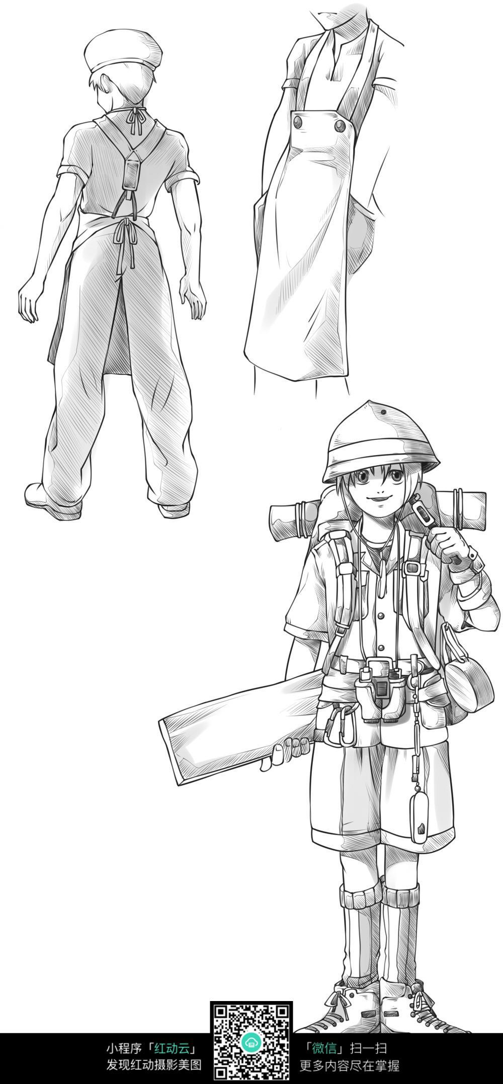 黑白人物角色_人物卡通图片