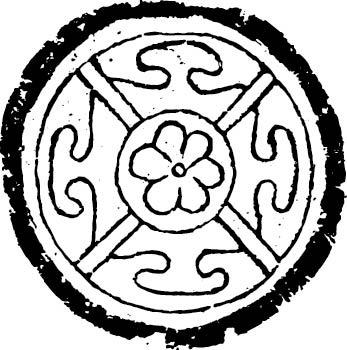 圆形瓦当花纹 花卉线条装饰图案 中式建筑石雕花纹 矢量图案素材 tif图片