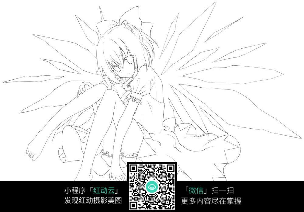有翅膀的动漫人物手绘