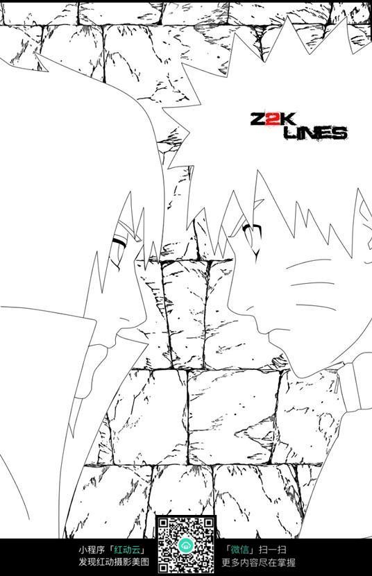 火影忍者鸣人和佐助相对视简笔画素材图片