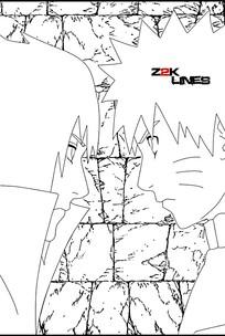 火影忍者鸣人和佐助相对视简笔画素材