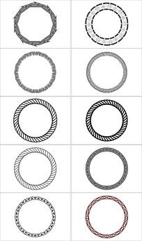 简洁圆形设计边框
