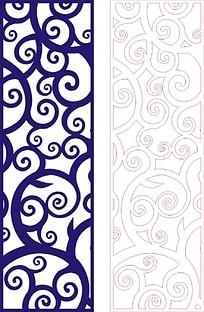 卷草风格蓝色装饰雕花