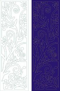 卷草花纹木雕屏风图案