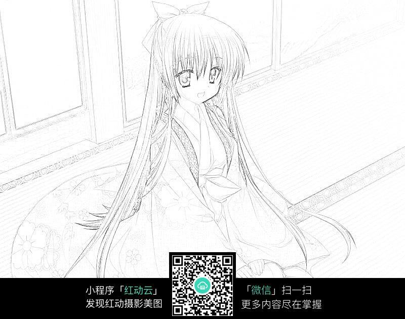 JPG长发跪坐的图片卡通线稿少女免费下载潮州脱光女生图片