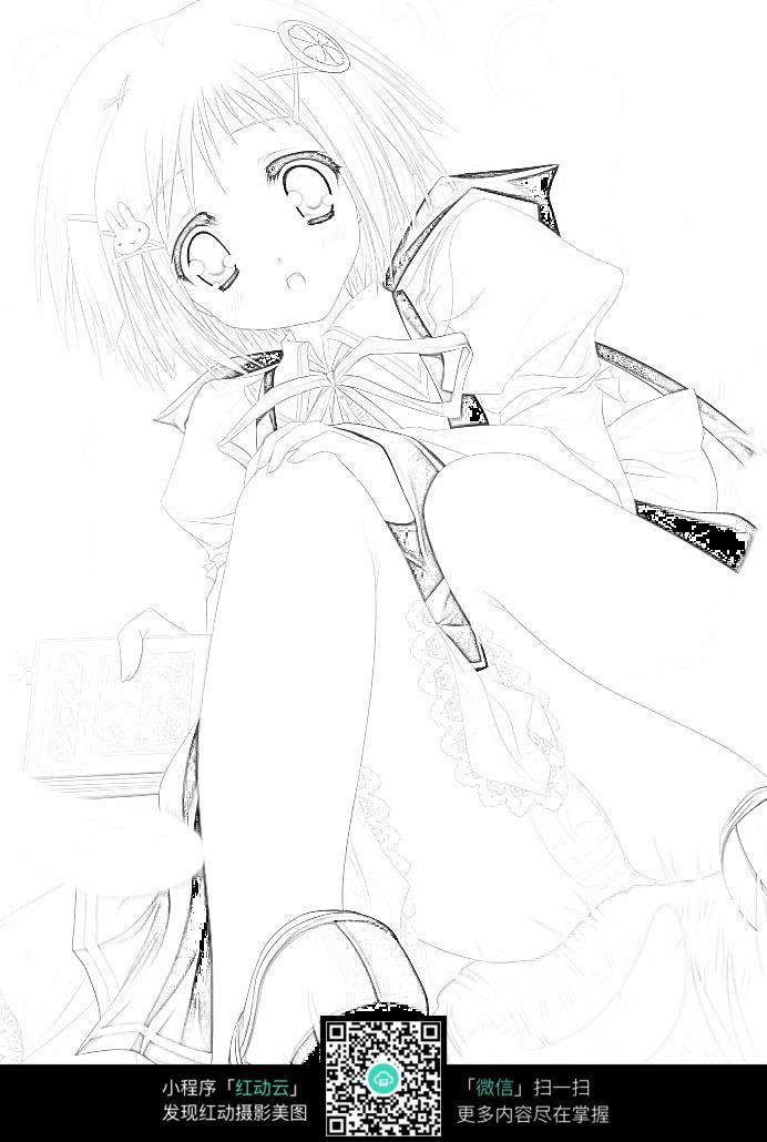 卡通女孩手绘线稿素材