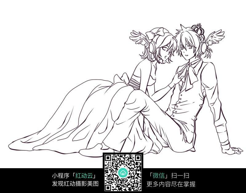 免费素材 图片素材 漫画插画 人物卡通 卡通拍婚纱照的情侣线稿