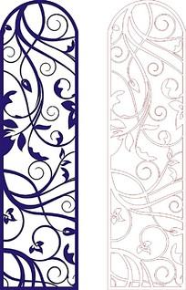 蓝色简约木雕镂空素材图案