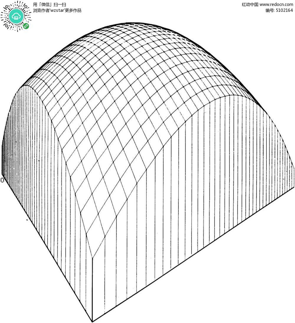 立体拱形网格 黑色立体起伏线框 立体线条构成图 tif