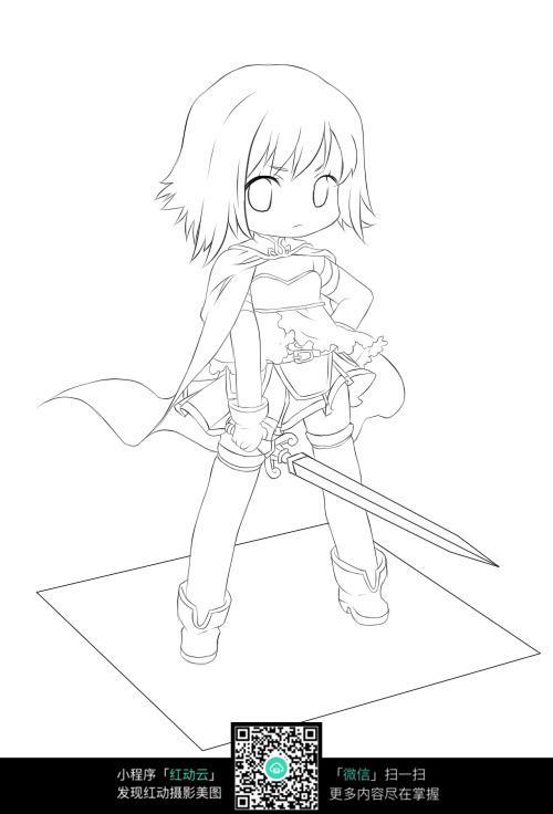 拿剑漫画女生图片免费下载(编号5218304)_红动网