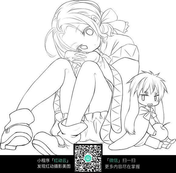 女孩和萌宠_人物卡通图片