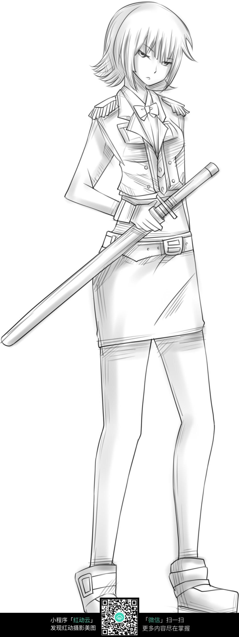 漫画 女人 军装 佩剑 短发 个性 帅气 手绘