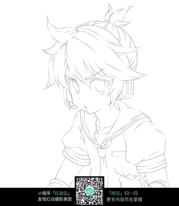 日漫男孩手绘线稿