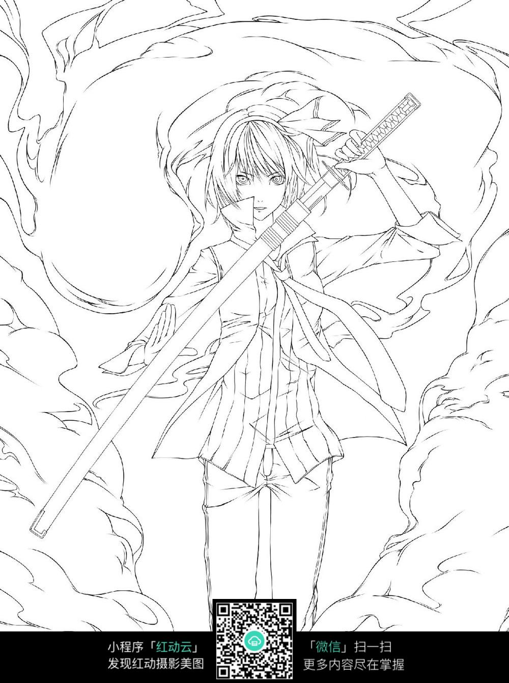 手拿日本刀的动漫人物线稿_人物卡通图片