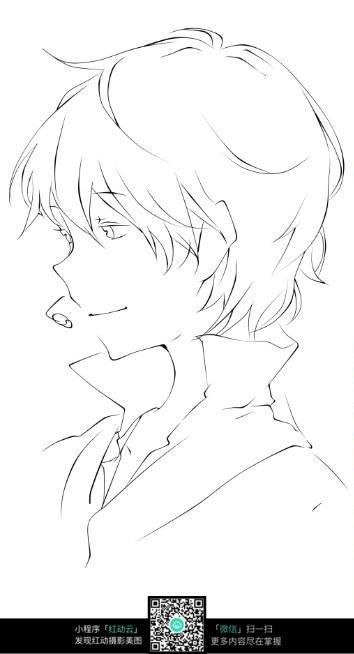 帅气男生侧脸手绘稿图片