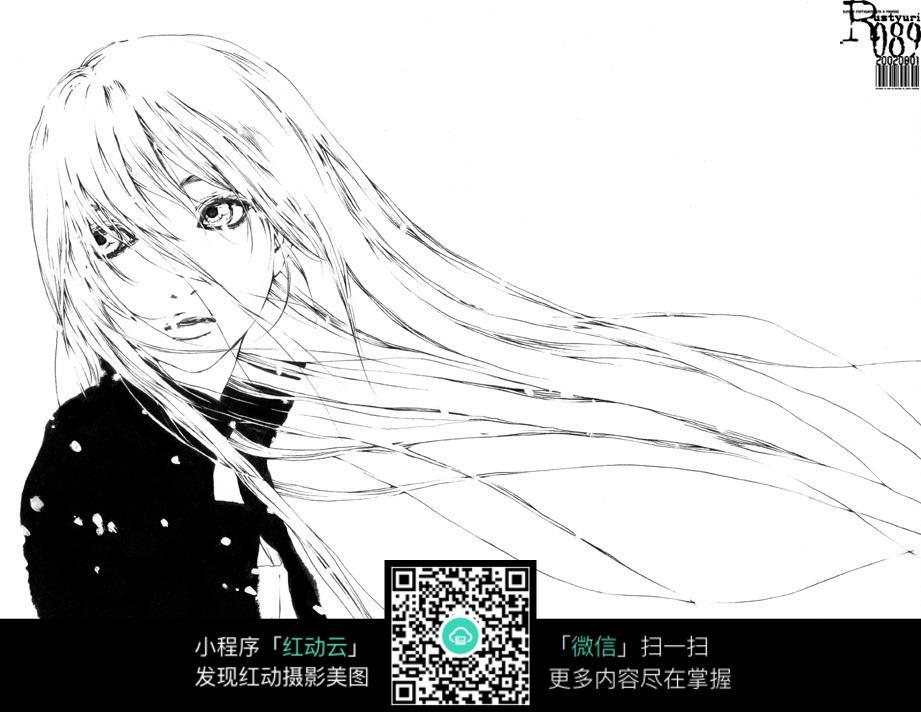 忧伤少女_人物卡通图片