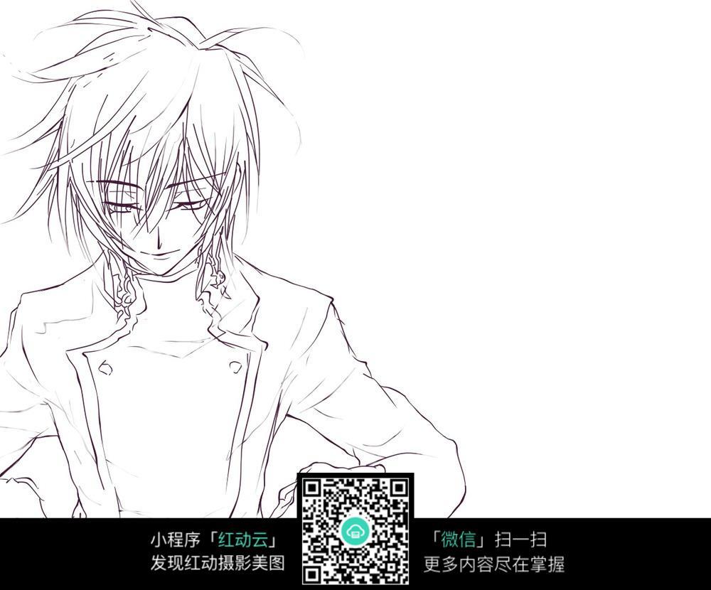 忧郁动漫男生低头手绘稿图片