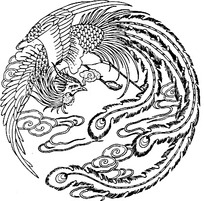 圆形白描凤凰图