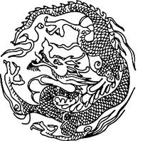 圆形白描龙纹