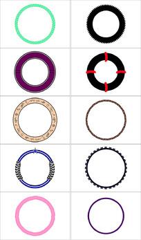 圆形简约花纹边框设计素材
