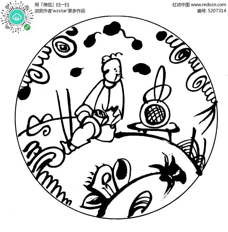 中国风简笔画圆形图案矢量图