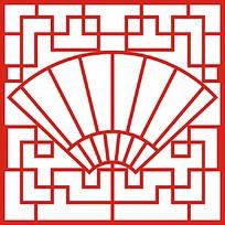 中式红色扇子雕花屏风图案
