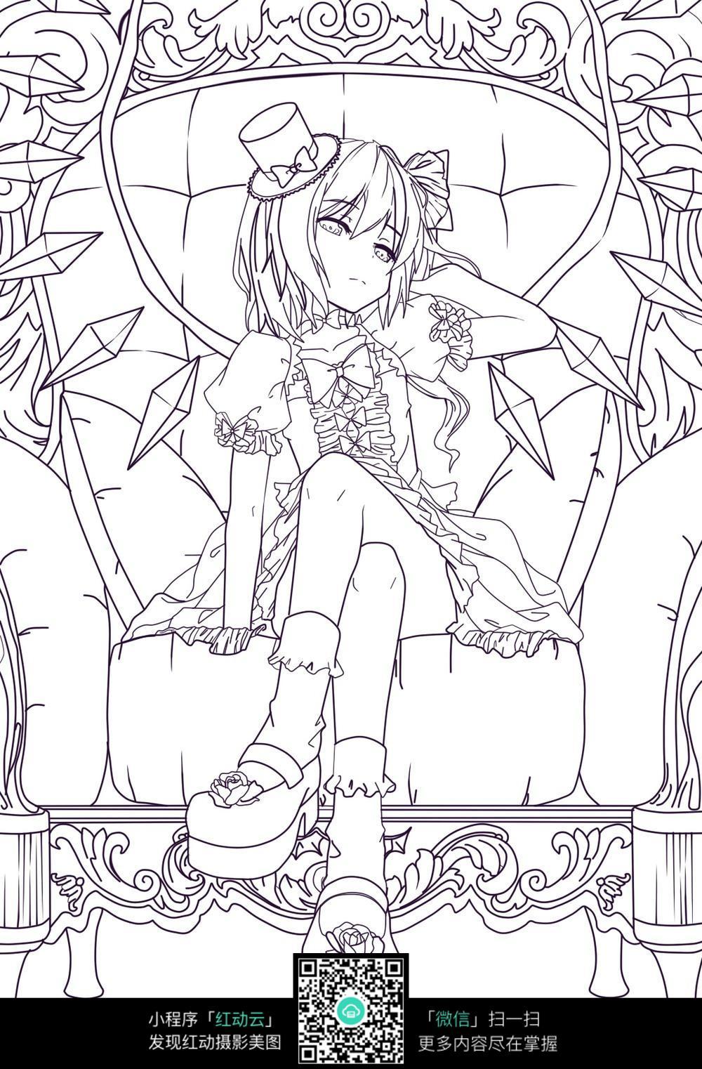 座椅上的动漫女生_人物卡通图片