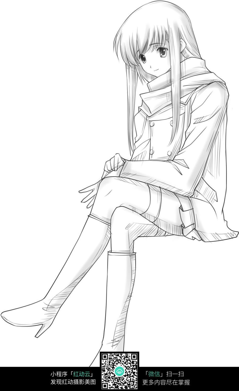 坐着的动漫美女手绘稿