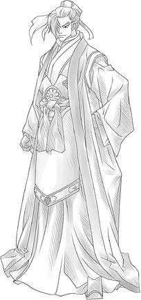 穿着古代服饰的男子漫画图