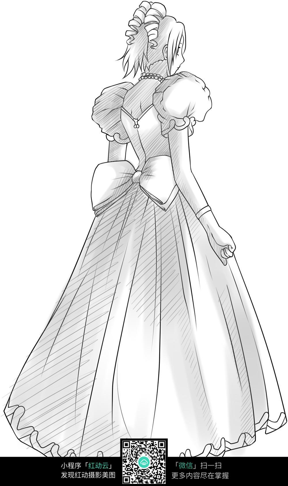穿着晚礼服的女郎背影漫画图_人物卡通图片