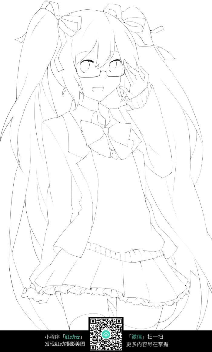 戴眼镜的长发女中学生漫画图图片免费下载 编号5226398 红动网