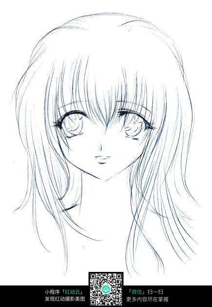 大眼美女头像素描画_人物卡通图片