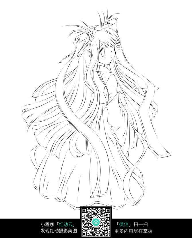 动漫中的长发美女手绘稿_人物卡通图片_红动手机版