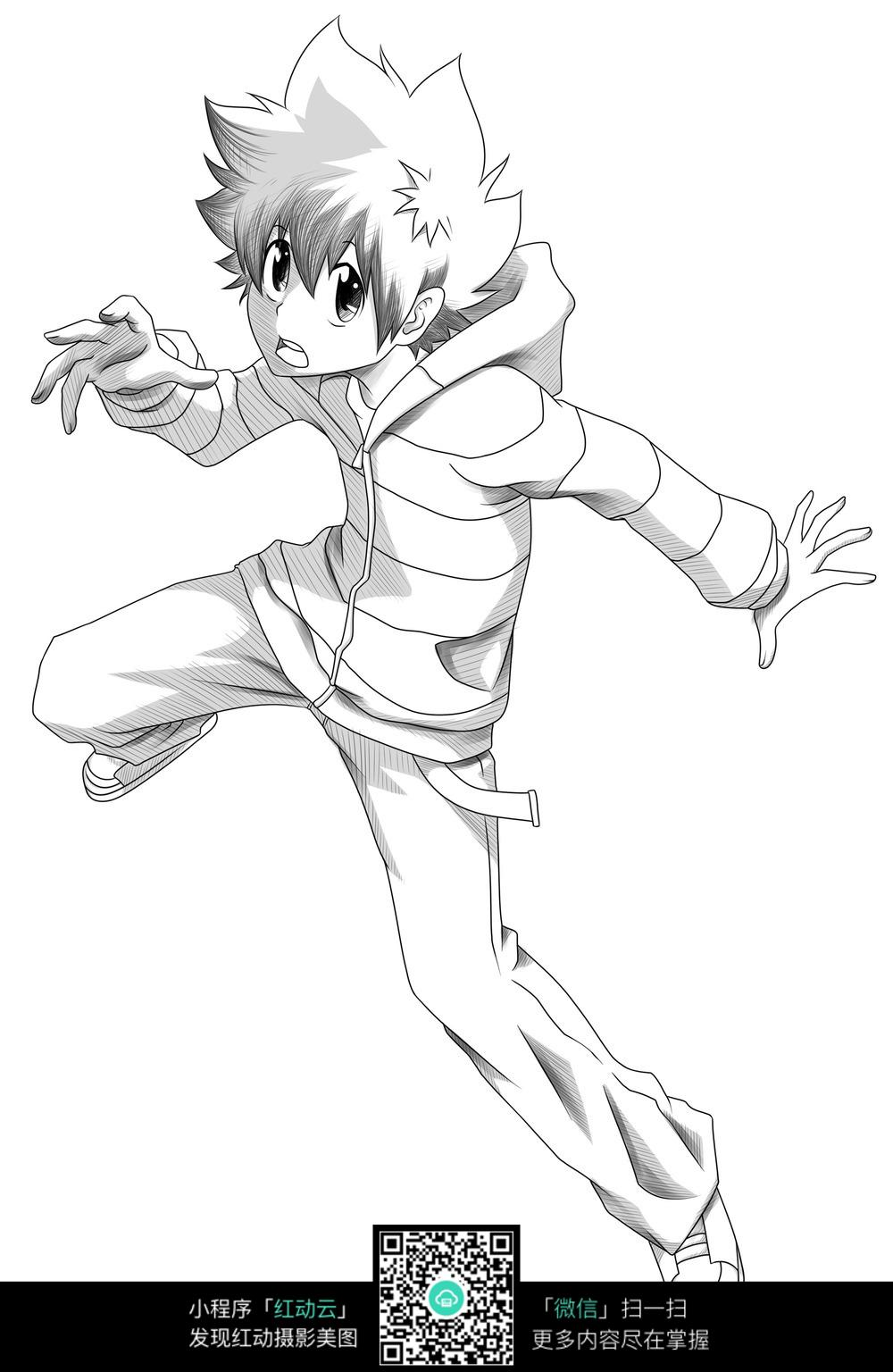 沢田纲吉全身铅笔手绘图_人物卡通图片