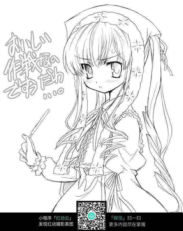 黑白可爱少女动漫线稿_人物卡通图片