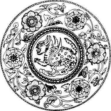 黑白线条花朵神兽图案