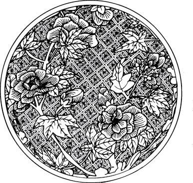 黑白线条网格植物花纹
