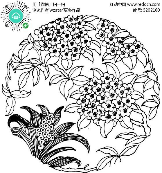 花草手绘图案