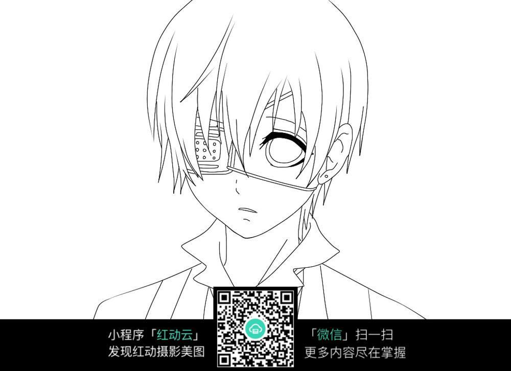 东京食尸鬼 金木研 戴眼罩的金木研 人物头像图 卡通手绘人物 线勾图