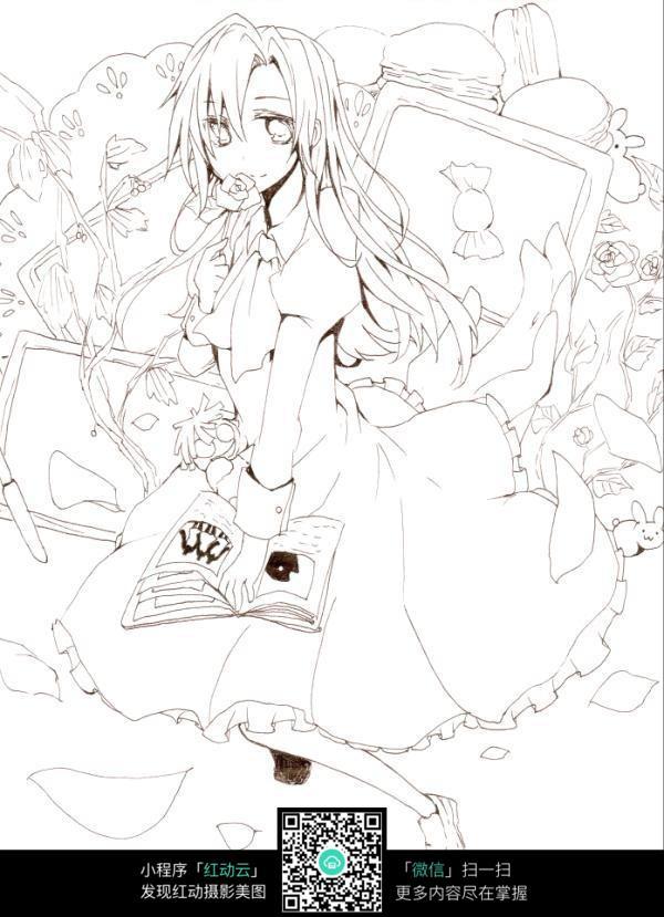 免费素材 图片素材 漫画插画 人物卡通 玫瑰糖果女孩