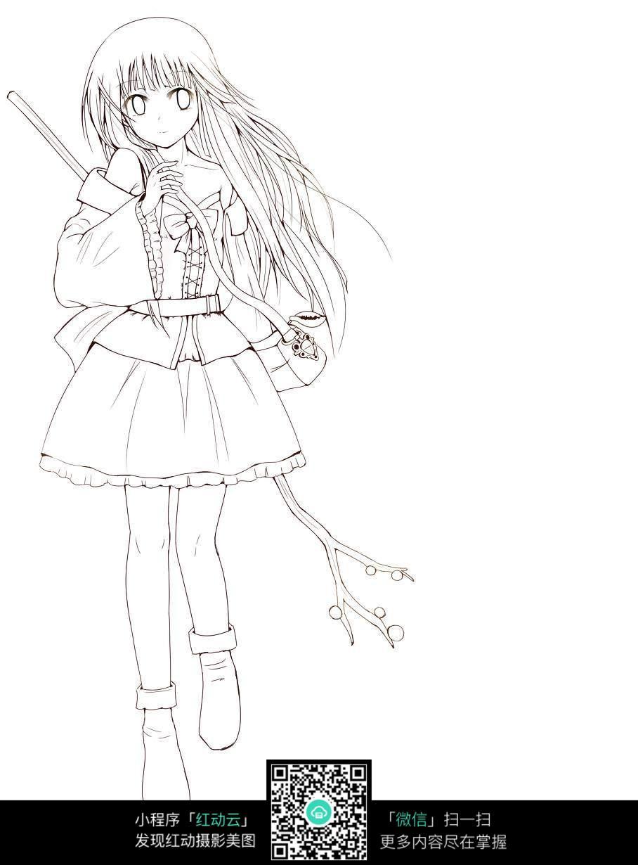 女孩手持树枝动漫线稿