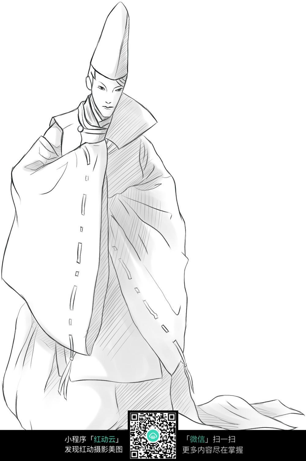 漫画 男人 古装 气质 高雅 扇子 儒士 手绘 线稿 插画      卡通人物