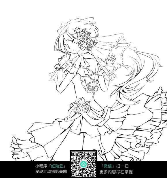 免费素材 图片素材 漫画插画 人物卡通 身着婚纱的准新娘线绘图  请您