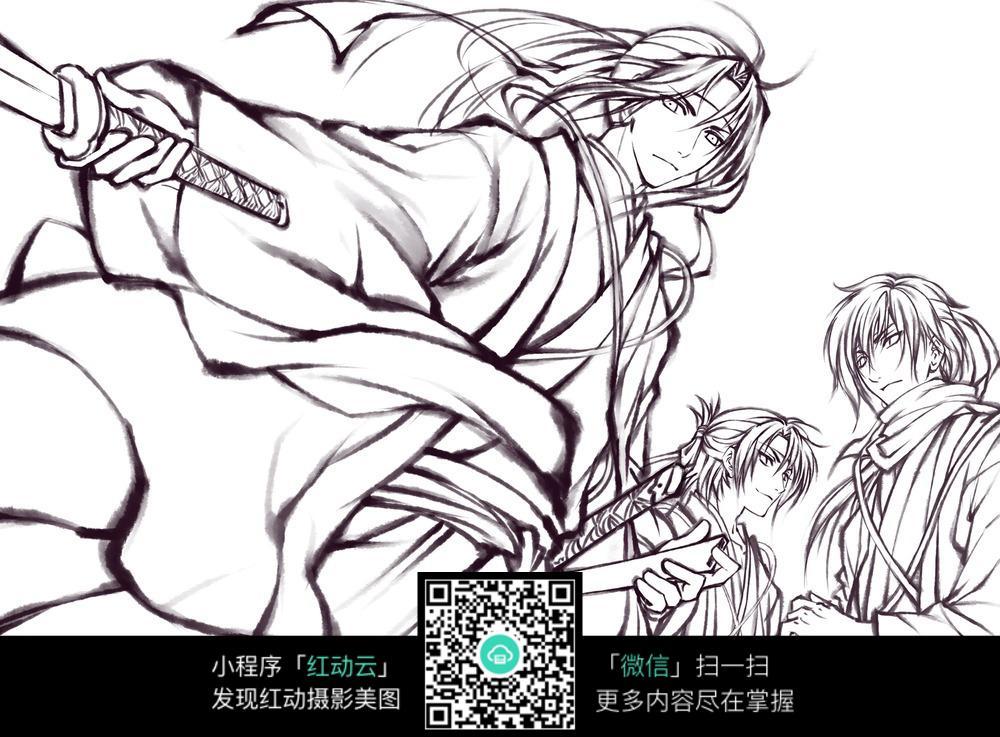 免费素材 图片素材 漫画插画 人物卡通 手持刀剑少年动漫线稿