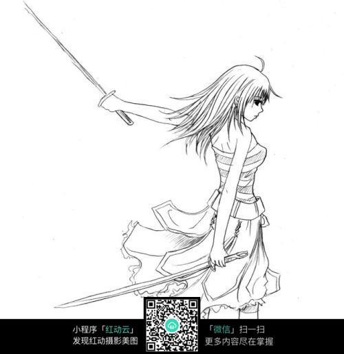 手绘少女持剑动漫线稿