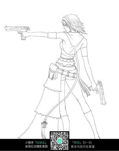 手拿枪的动漫美女背影图片
