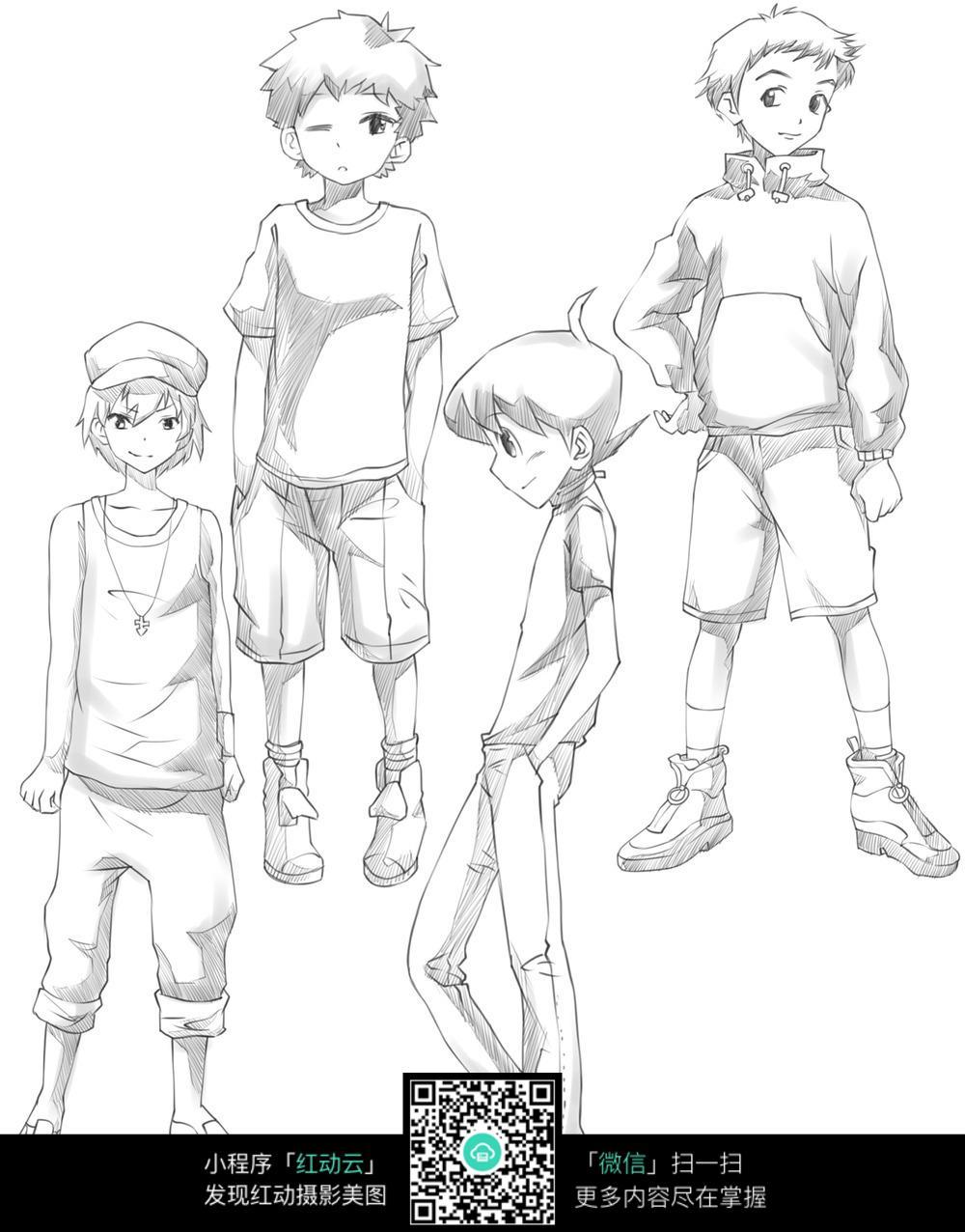四个帅气动漫男生手绘稿图片