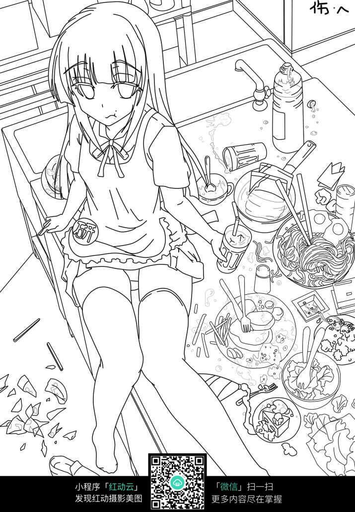 免费素材 图片素材 漫画插画 人物卡通 贪吃少女形象