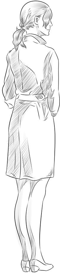 套装女人的背影