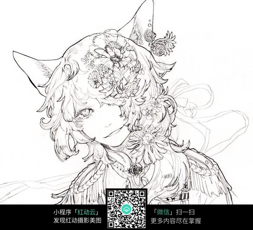 鲜花头饰的狐狸少女